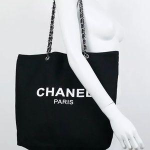 Chanel black VIP tote bag silver hardware chain